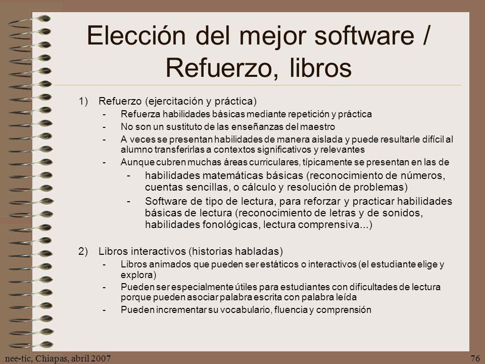Elección del mejor software / Refuerzo, libros