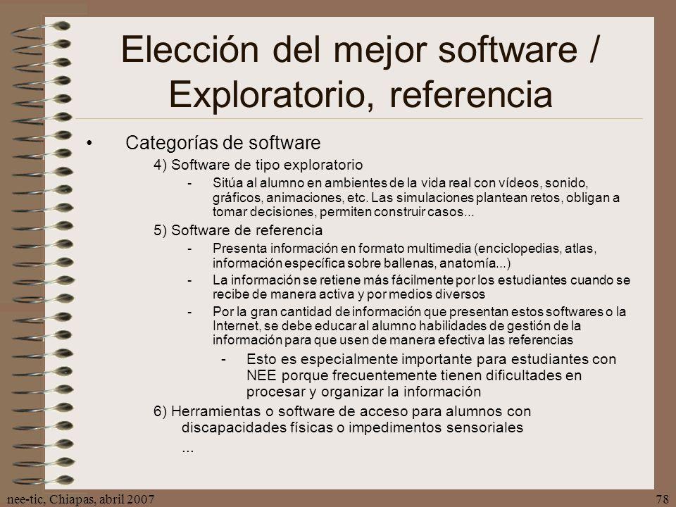 Elección del mejor software / Exploratorio, referencia