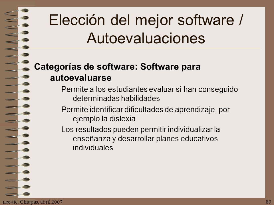 Elección del mejor software / Autoevaluaciones