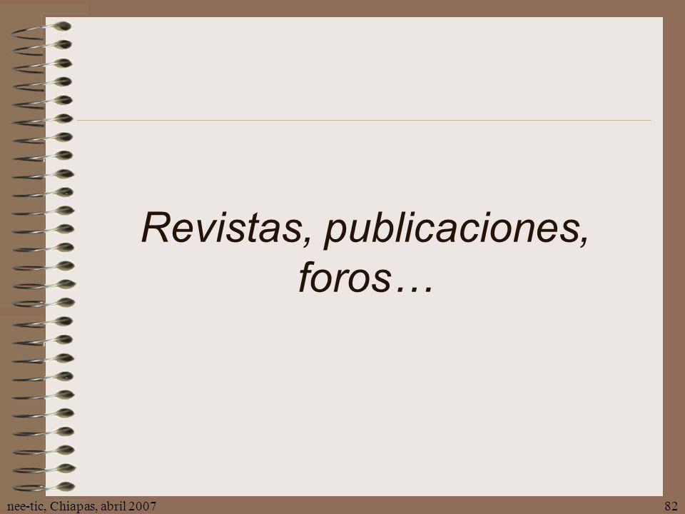 Revistas, publicaciones, foros…