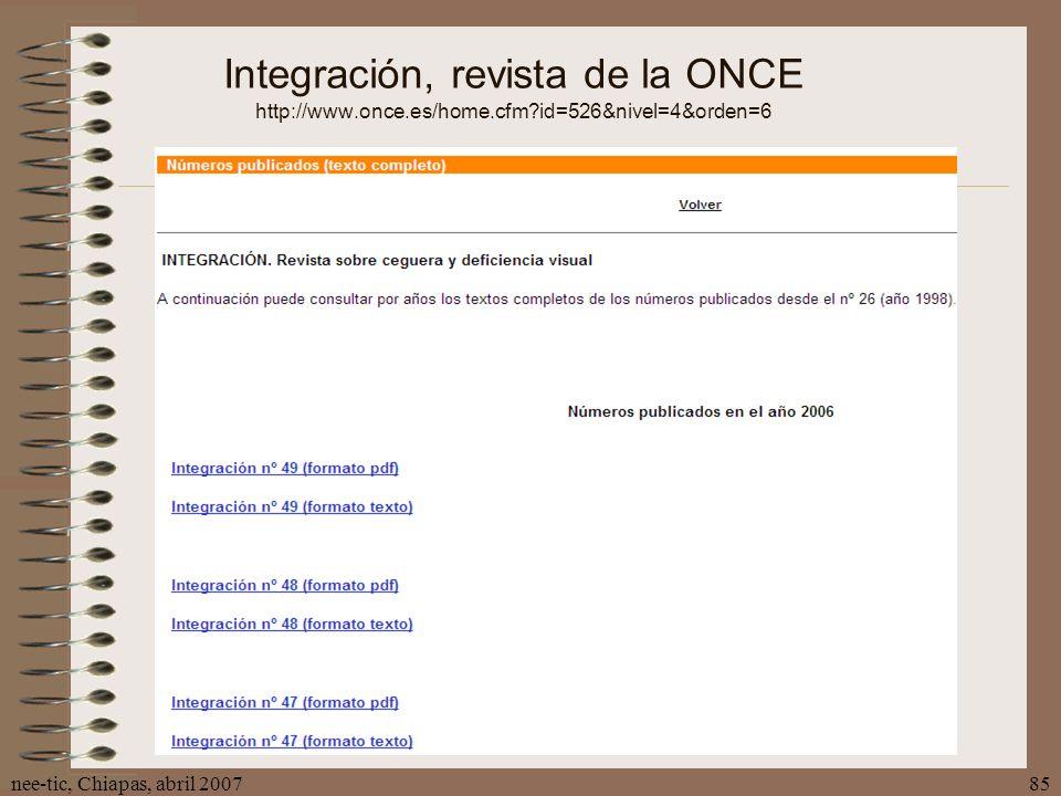 Integración, revista de la ONCE http://www. once. es/home. cfm