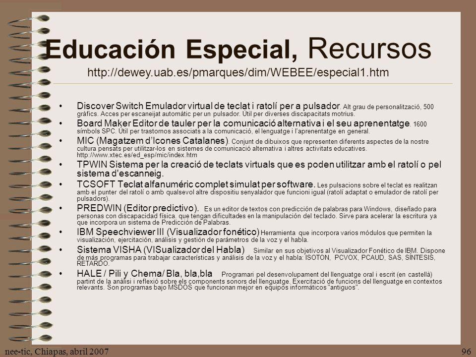 Educación Especial, Recursos http://dewey. uab