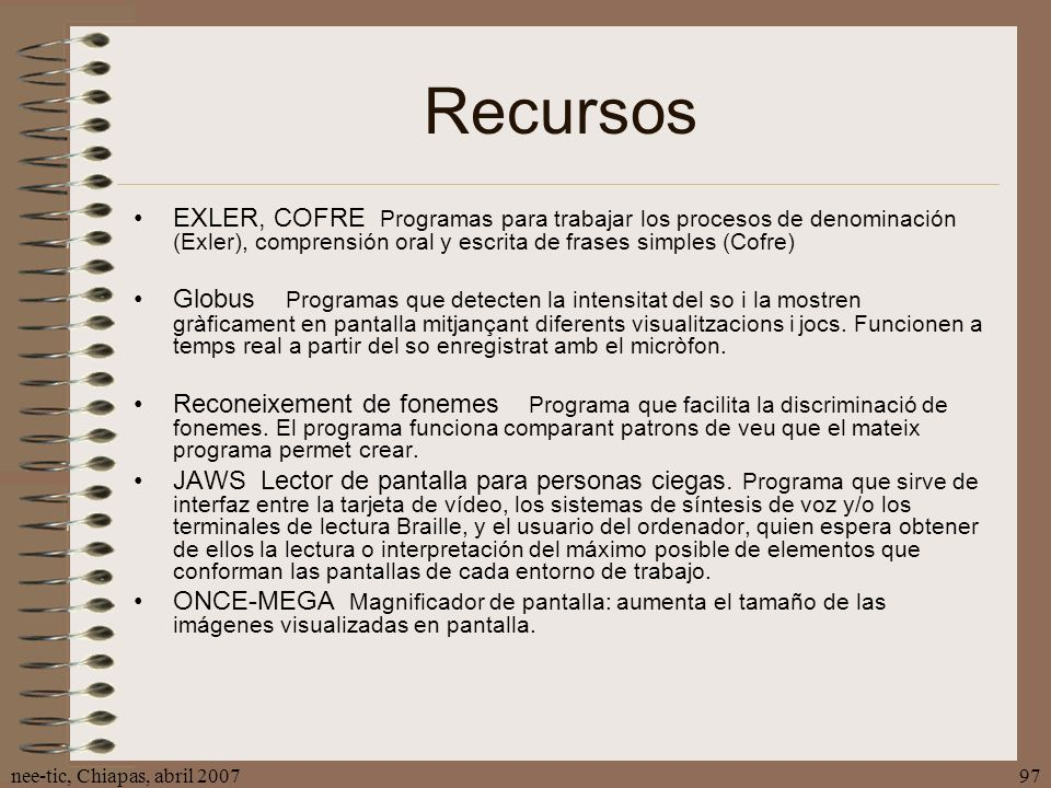 Recursos EXLER, COFRE Programas para trabajar los procesos de denominación (Exler), comprensión oral y escrita de frases simples (Cofre)