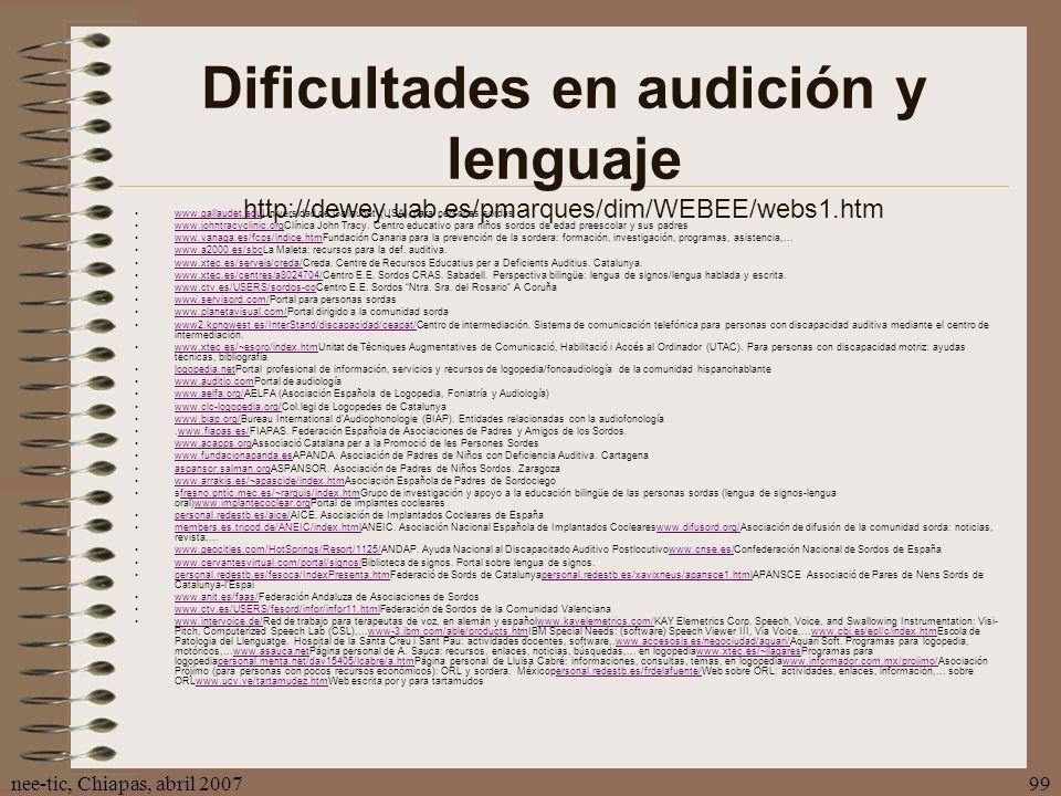 Dificultades en audición y lenguaje http://dewey. uab