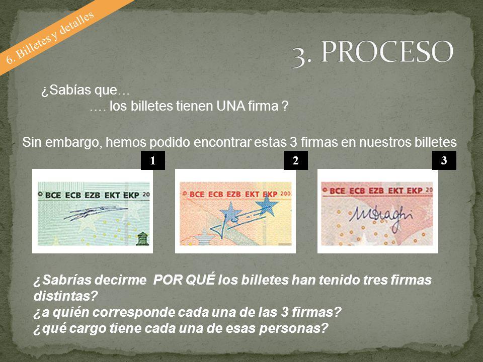3. PROCESO ¿Sabías que… …. los billetes tienen UNA firma