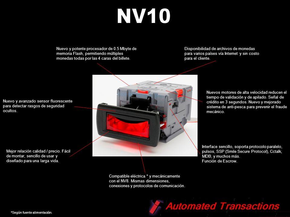 NV10 Nuevo y potente procesador de 0.5 Mbyte de memoria Flash, permitiendo múltiples monedas todas por las 4 caras del billete.