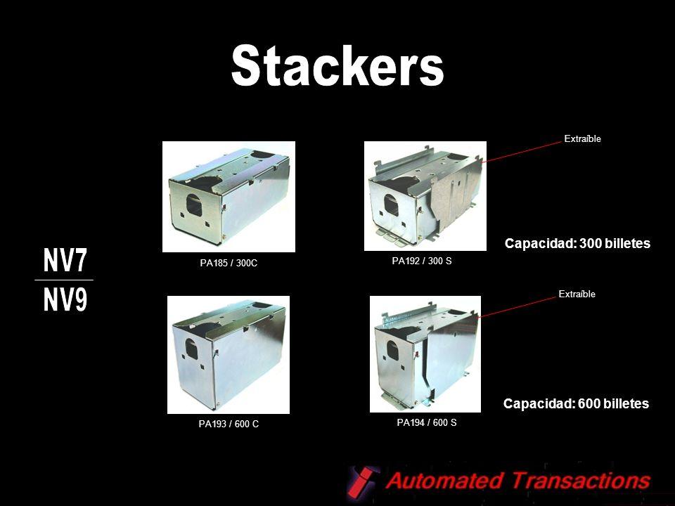Stackers NV7 NV9 Capacidad: 300 billetes Capacidad: 600 billetes