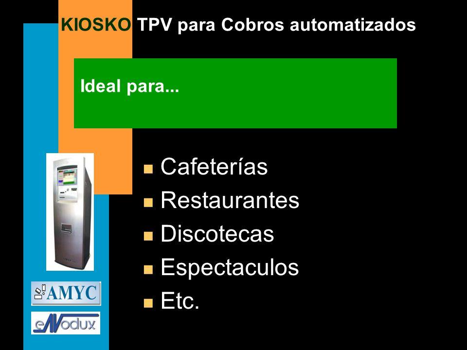 Ideal para... Cafeterías Restaurantes Discotecas Espectaculos Etc.