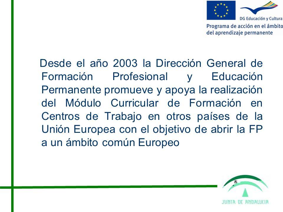 Desde el año 2003 la Dirección General de Formación Profesional y Educación Permanente promueve y apoya la realización del Módulo Curricular de Formación en Centros de Trabajo en otros países de la Unión Europea con el objetivo de abrir la FP a un ámbito común Europeo