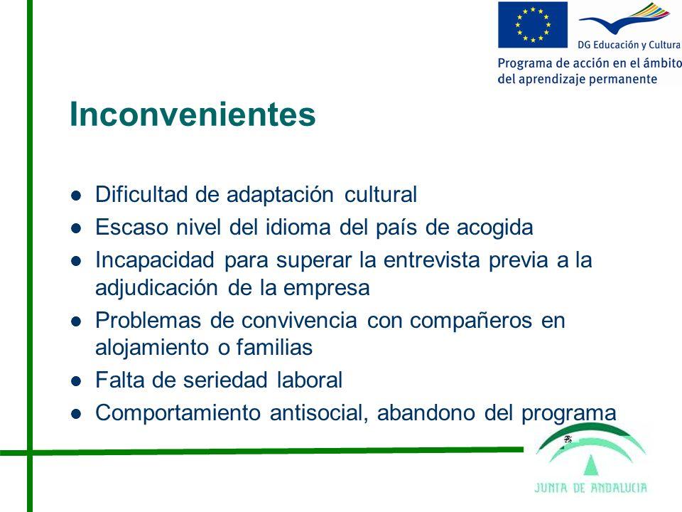 Inconvenientes Dificultad de adaptación cultural