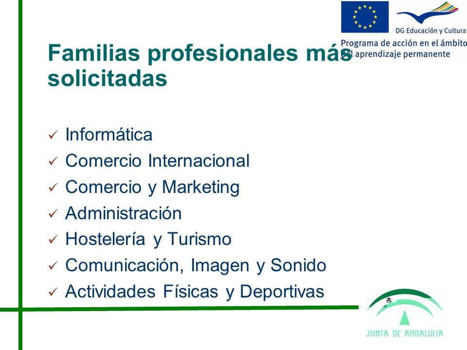 Familias profesionales más solicitadas