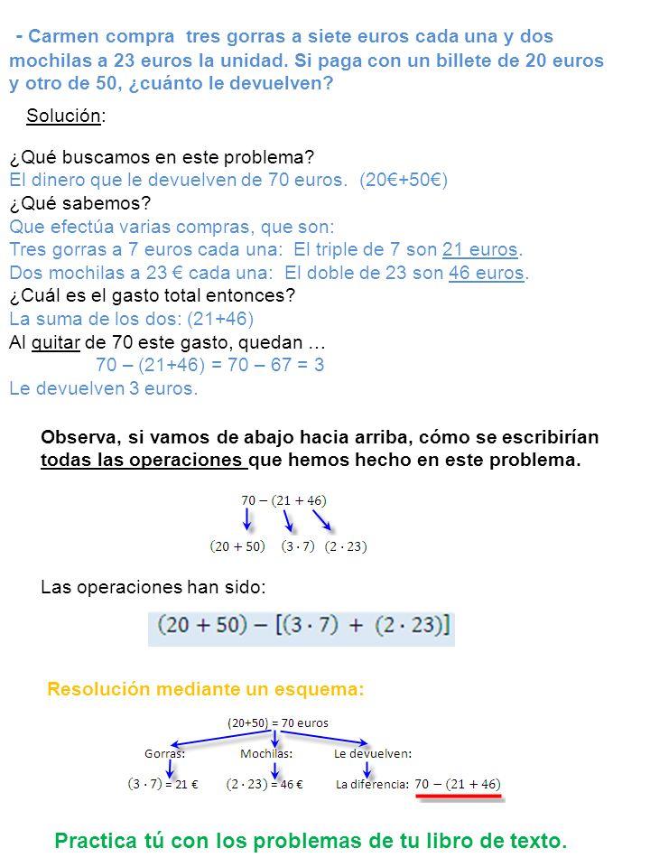 Practica tú con los problemas de tu libro de texto.