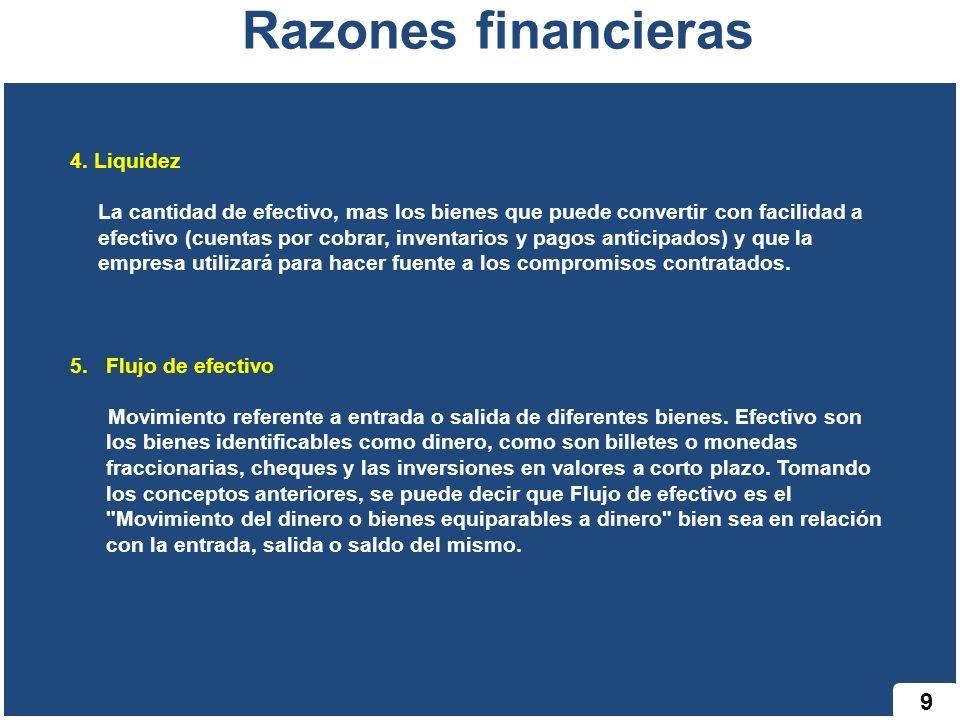 Razones financieras 9 4. Liquidez