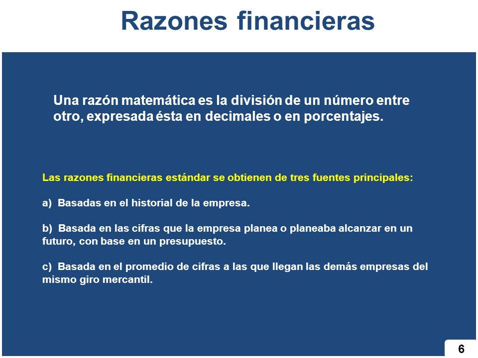 Razones financieras Una razón matemática es la división de un número entre otro, expresada ésta en decimales o en porcentajes.