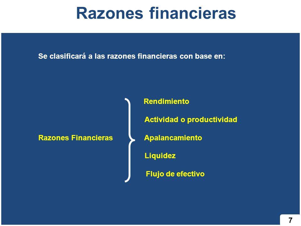 Razones financieras Se clasificará a las razones financieras con base en: Rendimiento. Actividad o productividad.