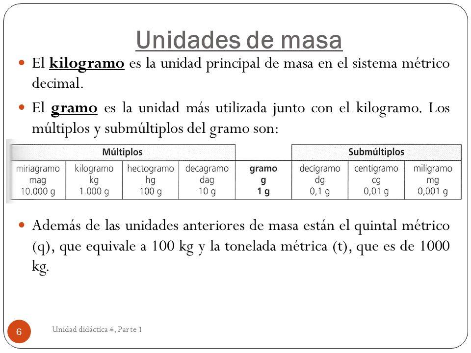 Unidades de masaEl kilogramo es la unidad principal de masa en el sistema métrico decimal.