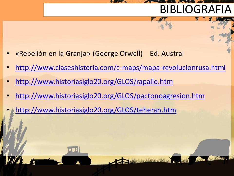 BIBLIOGRAFIA «Rebelión en la Granja» (George Orwell) Ed. Austral