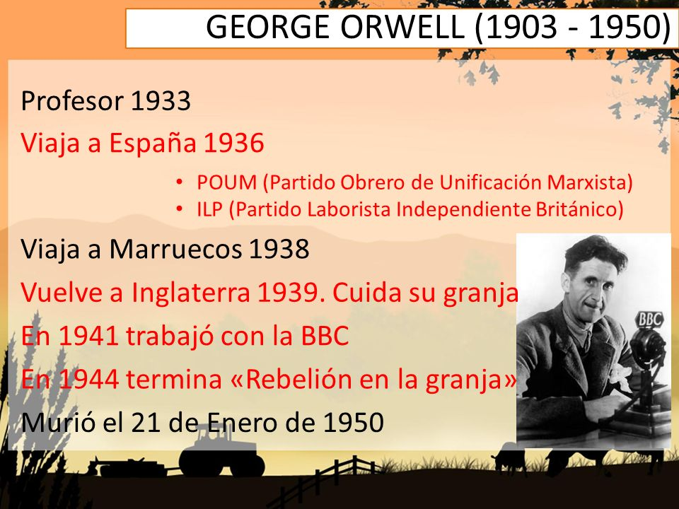 GEORGE ORWELL (1903 - 1950) Profesor 1933 Viaja a España 1936