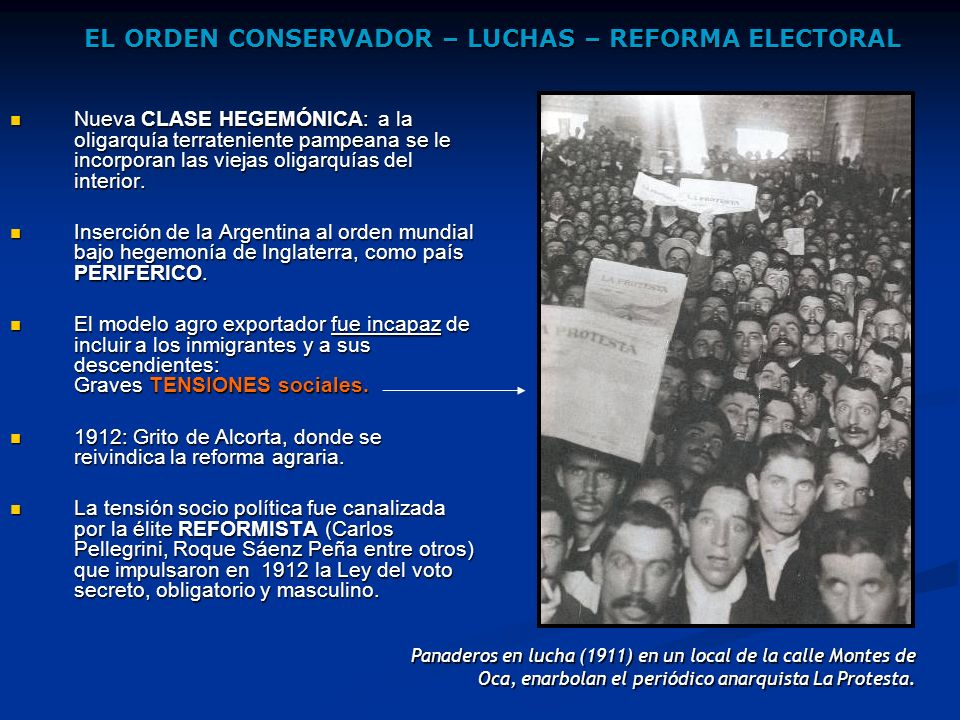 EL ORDEN CONSERVADOR – LUCHAS – REFORMA ELECTORAL