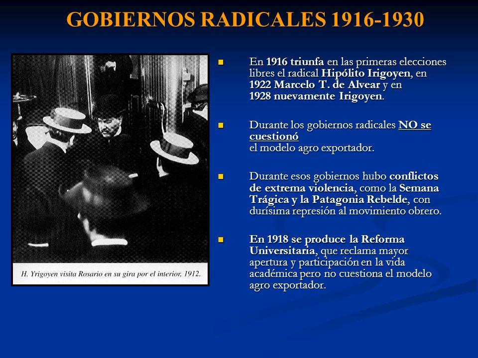 GOBIERNOS RADICALES 1916-1930
