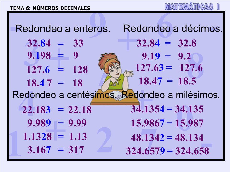 Redondeo a enteros. Redondeo a décimos. 32.84 33 = 32.84 = 32.8