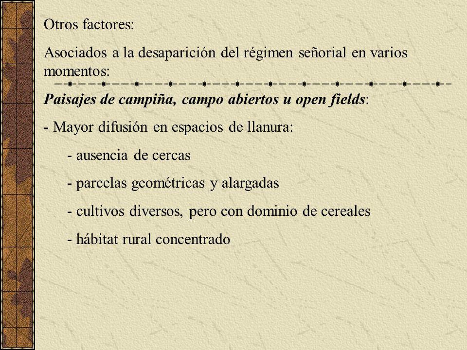 Otros factores: Asociados a la desaparición del régimen señorial en varios momentos: Paisajes de campiña, campo abiertos u open fields: