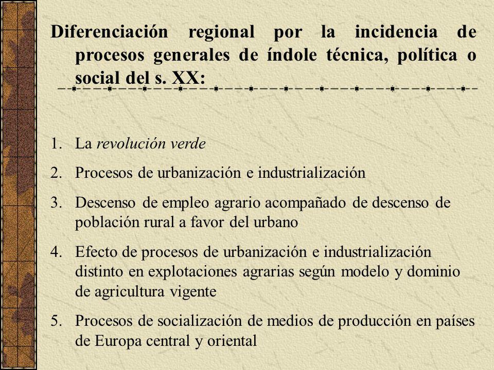 Diferenciación regional por la incidencia de procesos generales de índole técnica, política o social del s. XX: