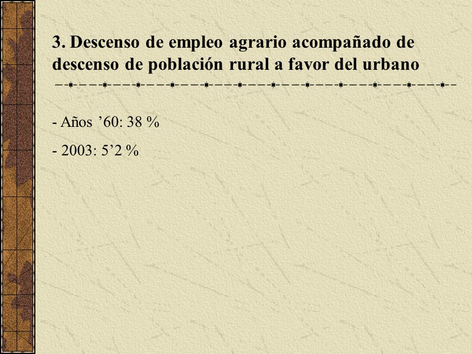 3. Descenso de empleo agrario acompañado de descenso de población rural a favor del urbano