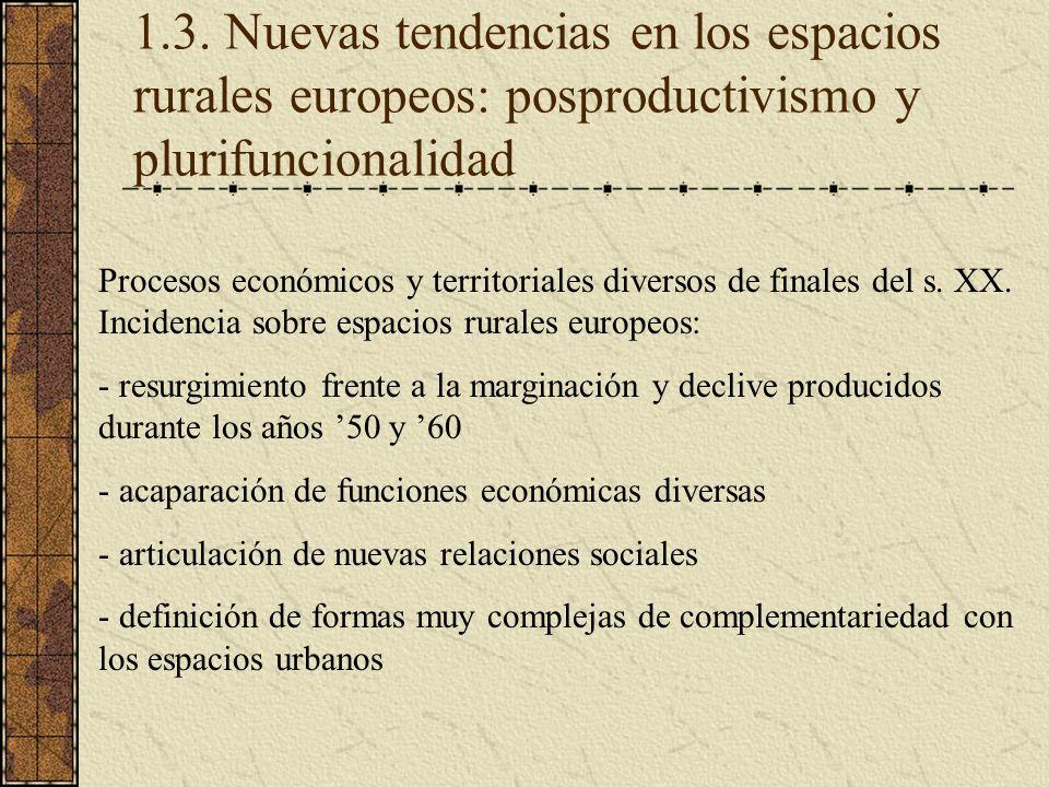 1.3. Nuevas tendencias en los espacios rurales europeos: posproductivismo y plurifuncionalidad