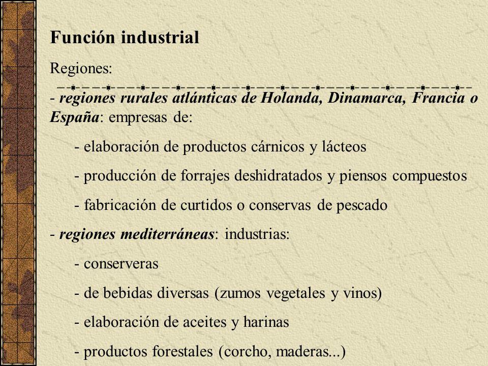 Función industrial Regiones: