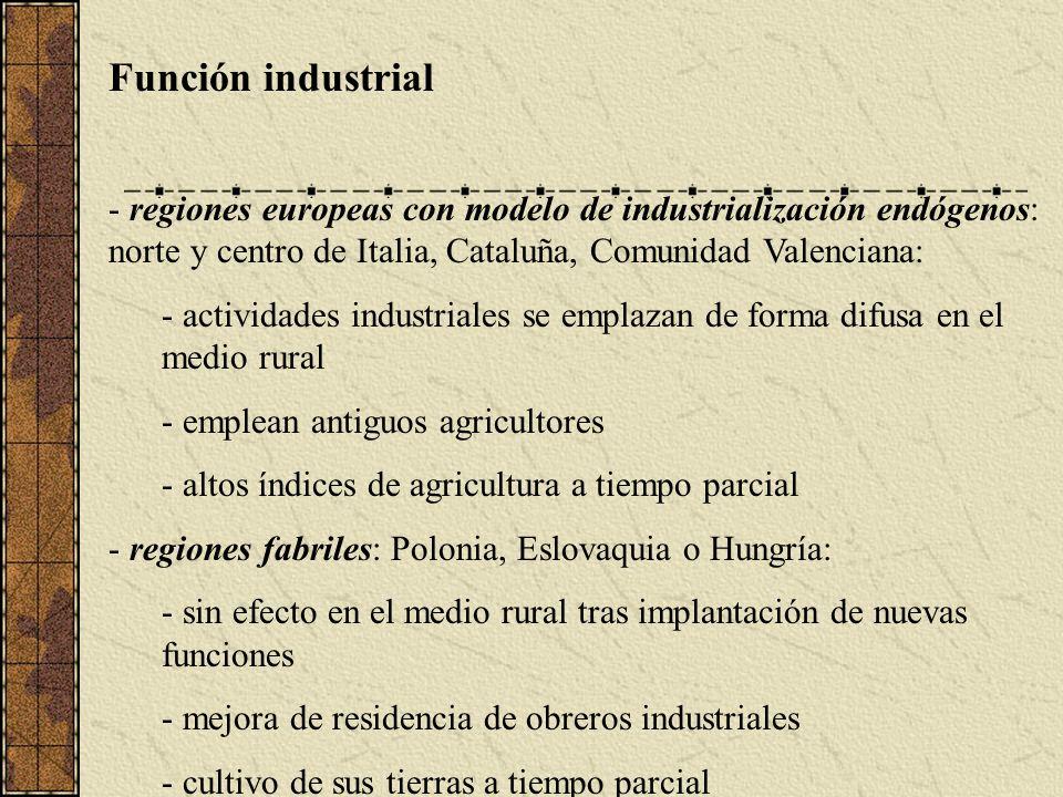 Función industrial regiones europeas con modelo de industrialización endógenos: norte y centro de Italia, Cataluña, Comunidad Valenciana: