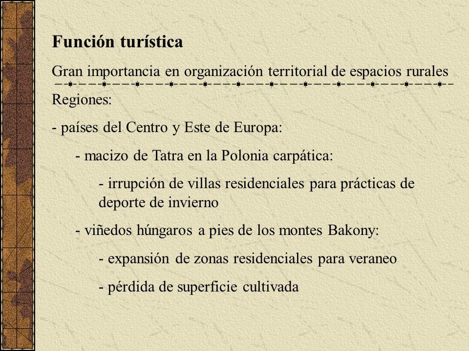 Función turística Gran importancia en organización territorial de espacios rurales. Regiones: países del Centro y Este de Europa: