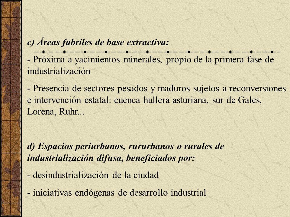 c) Áreas fabriles de base extractiva: