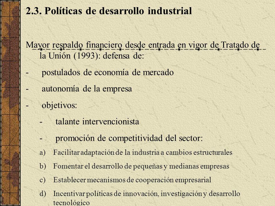2.3. Políticas de desarrollo industrial