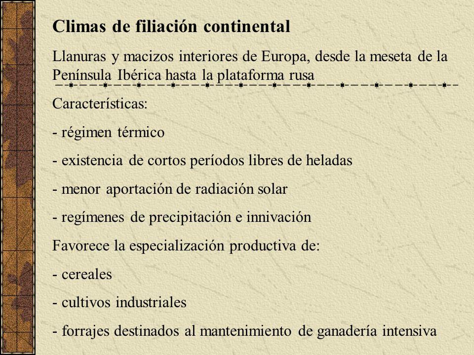 Climas de filiación continental