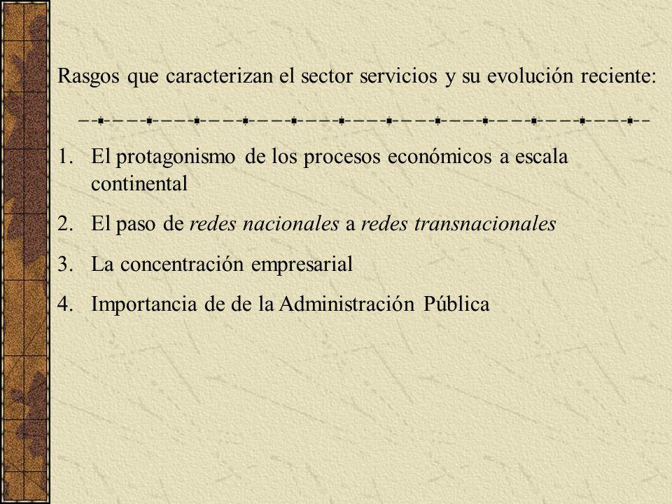 Rasgos que caracterizan el sector servicios y su evolución reciente: