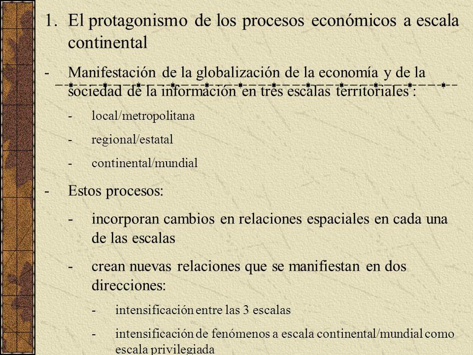 El protagonismo de los procesos económicos a escala continental