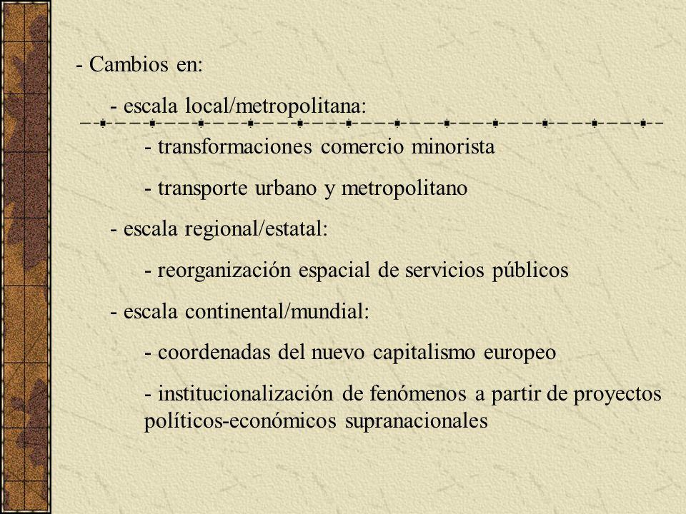 Cambios en: escala local/metropolitana: transformaciones comercio minorista. transporte urbano y metropolitano.