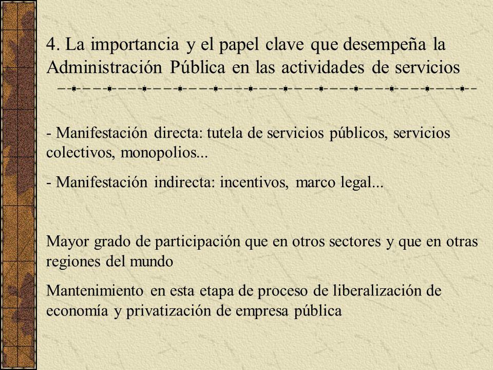 4. La importancia y el papel clave que desempeña la Administración Pública en las actividades de servicios