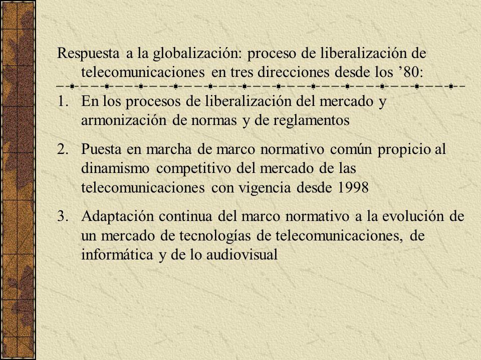 Respuesta a la globalización: proceso de liberalización de telecomunicaciones en tres direcciones desde los '80: