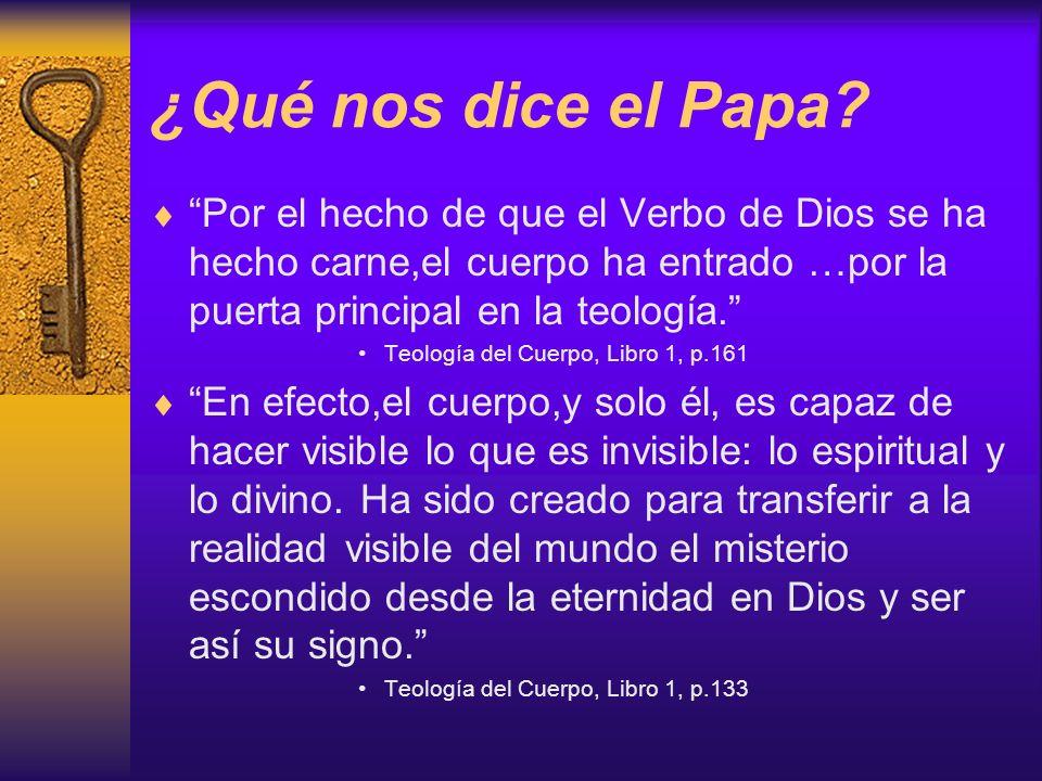 ¿Qué nos dice el Papa Por el hecho de que el Verbo de Dios se ha hecho carne,el cuerpo ha entrado …por la puerta principal en la teología.