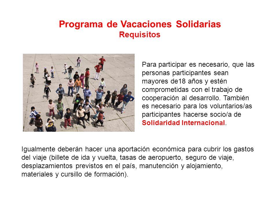 Programa de Vacaciones Solidarias