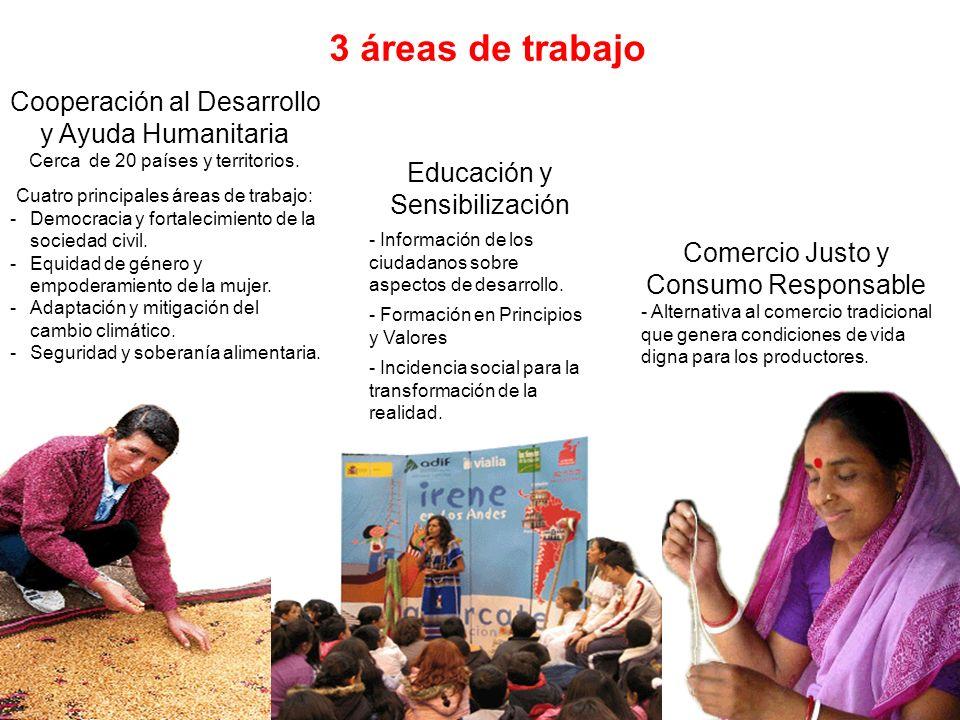 3 áreas de trabajo Cooperación al Desarrollo y Ayuda Humanitaria