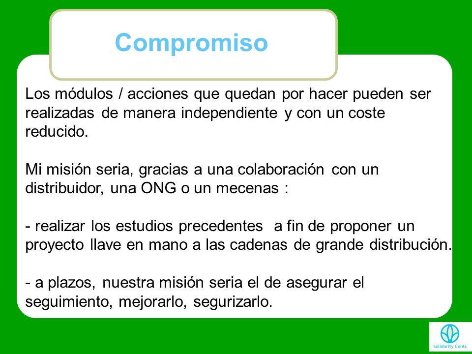 Compromiso Los módulos / acciones que quedan por hacer pueden ser realizadas de manera independiente y con un coste reducido.