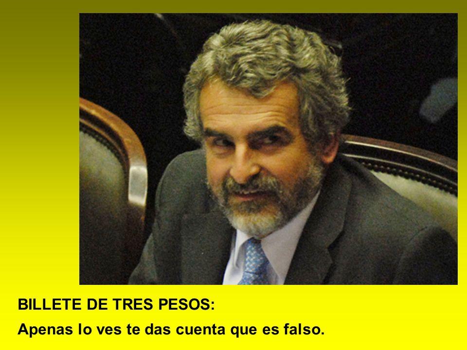 BILLETE DE TRES PESOS: Apenas lo ves te das cuenta que es falso.