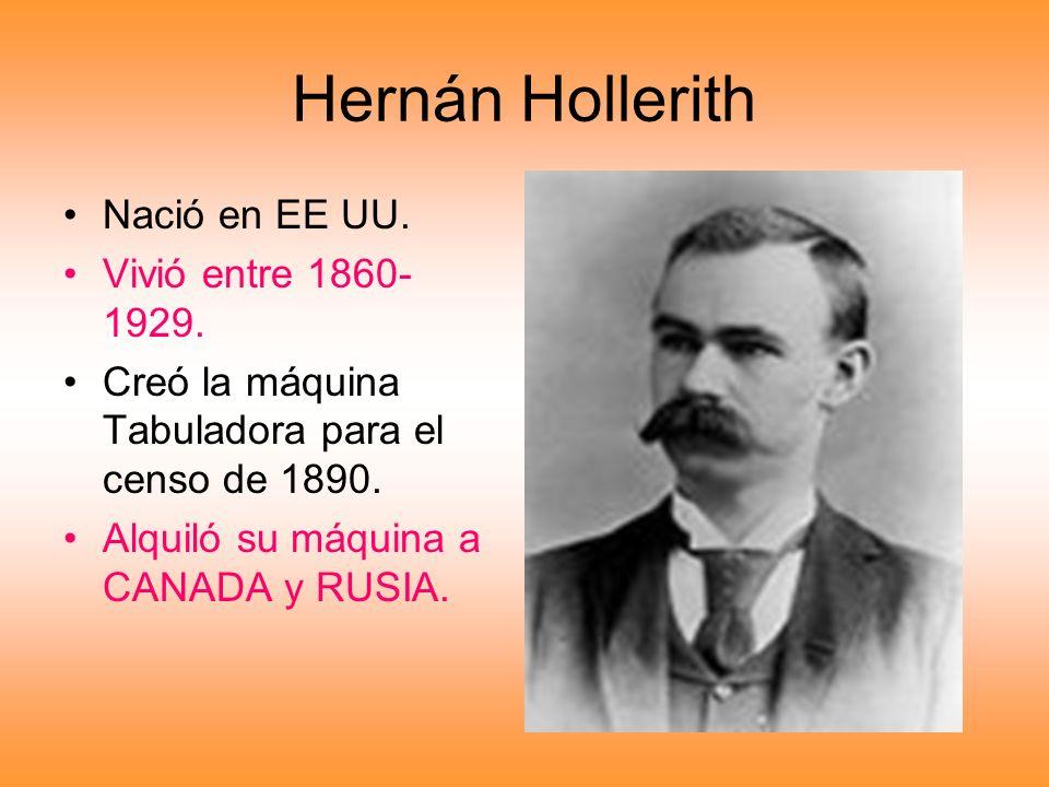 Hernán Hollerith Nació en EE UU. Vivió entre 1860-1929.