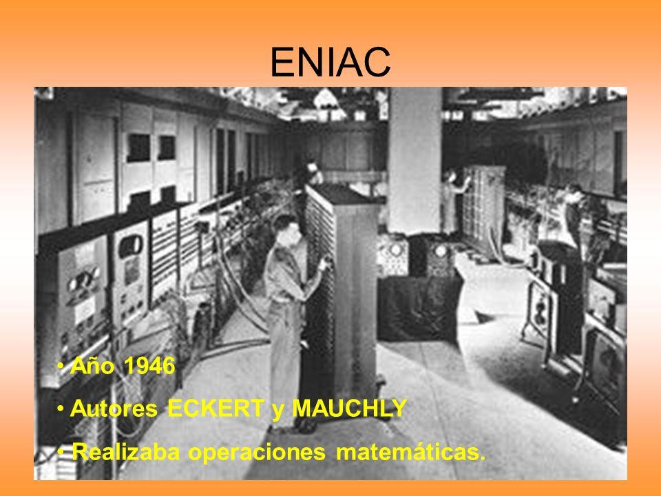 ENIAC Año 1946 Autores ECKERT y MAUCHLY