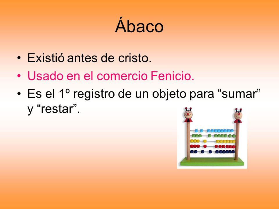 Ábaco Existió antes de cristo. Usado en el comercio Fenicio.
