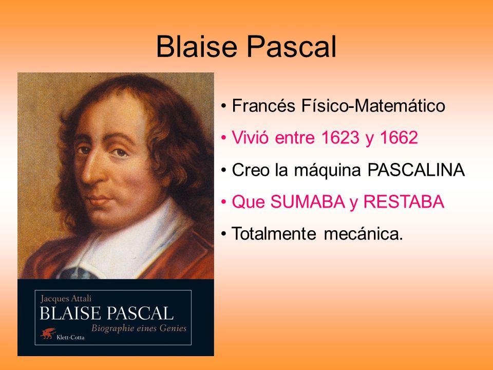 Blaise Pascal Francés Físico-Matemático Vivió entre 1623 y 1662