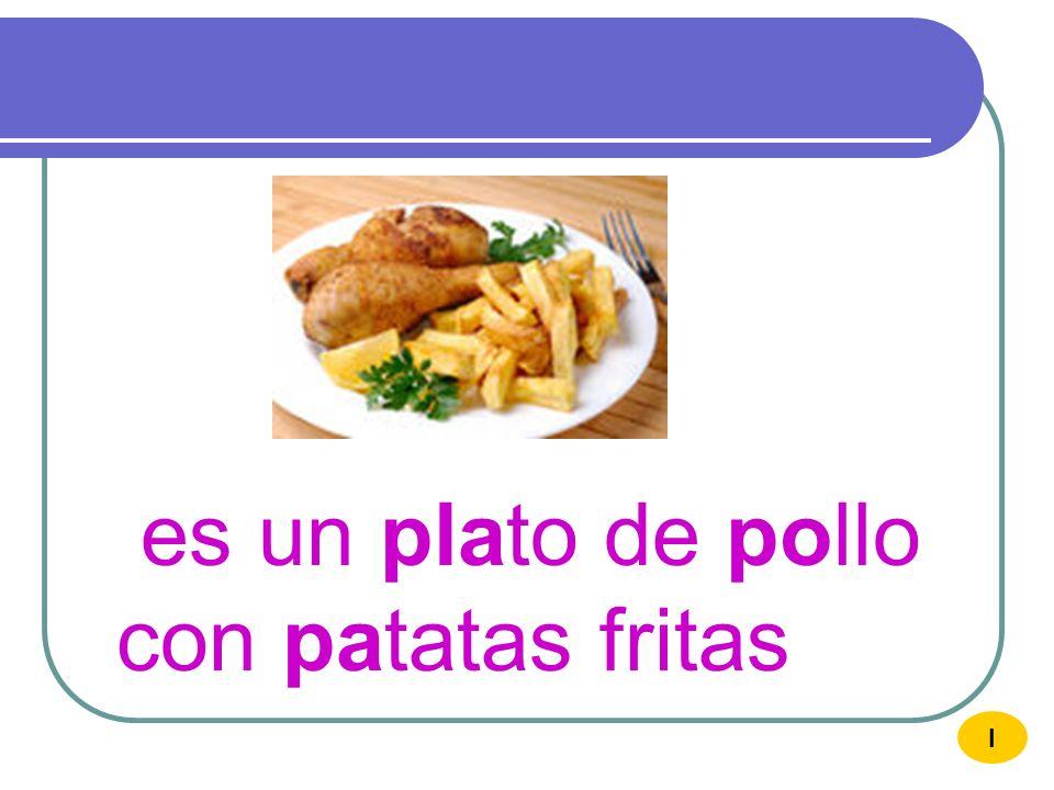 es un plato de pollo con patatas fritas